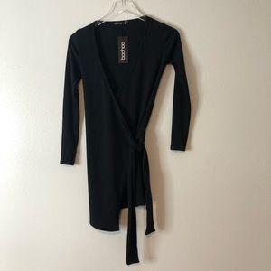 🆕Boohoo Black Ribbed Plunge Neck Wrap Mini Dress